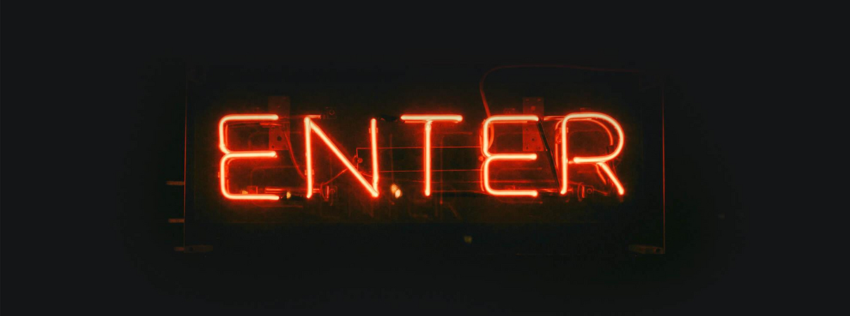 Red neon sign saying